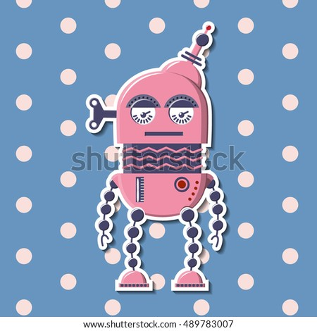 funny robot pink color in retro