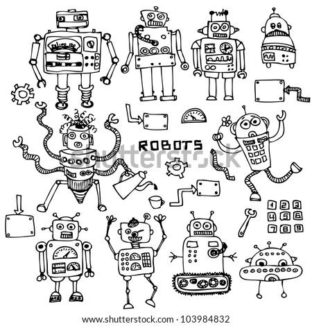 funny robot set in cartoon style