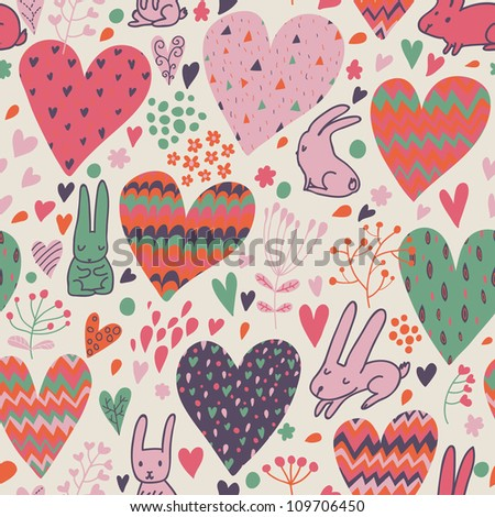 Funny romantic seamless pattern with cartoon hares