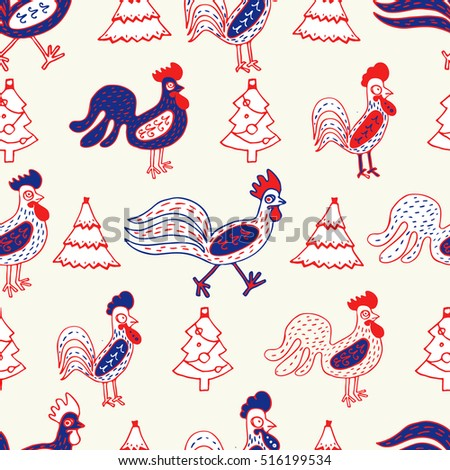 Funny roosters, seamless vector pattern