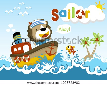 Funny Sailor cartoon vector on little ship #1023728983