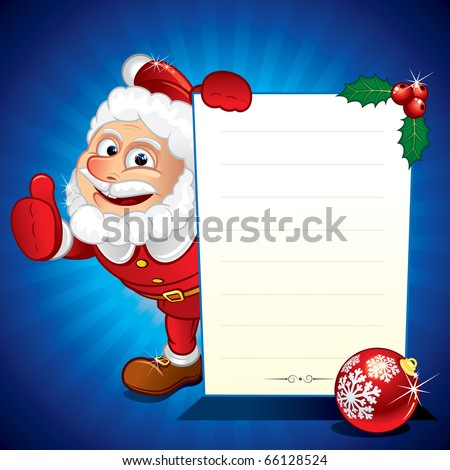 Funny Santa Claus holding Christmas Sale Sign - vector illustration