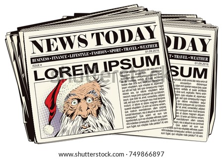 Funny Santa. Stock illustration. Newspaper article.