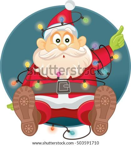funny santa tangled in