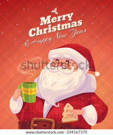 Funny santa with cookie and cup of chocolate. Christmas greeting card background poster. Vector illustration. Merry christmas and Happy new year.