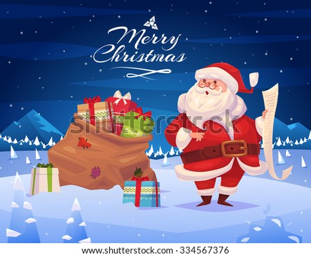 funny santa with presents