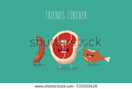 funny sausage  steak and
