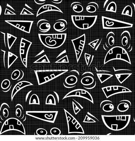 Funny scary faces messy monochrome autumn holiday halloween seamless pattern on dark background