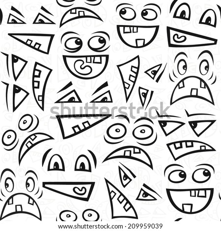 Funny scary faces messy monochrome autumn holiday halloween seamless pattern on white background