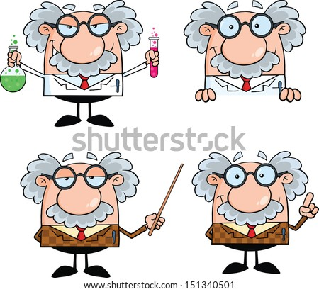 Funny Scientist Or Professor Cartoon Characters Set Vector Collection 7