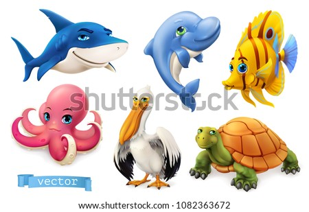 Funny sea animals and fishes. 3d vector icon set