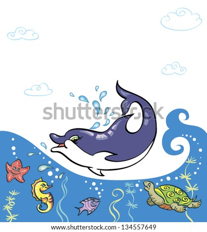 Funny sea animals in the waves. Dolphin Is it in the water, they all look at him. Children's picture bright colors. There is a place for your text.