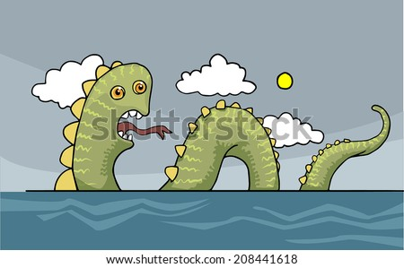 funny sea snake  dragon  vector