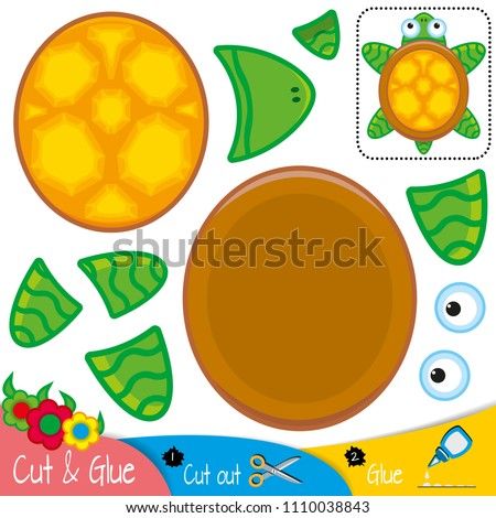 Funny sea turtle is a top view. Education paper game for preshool children. Vector illustration.