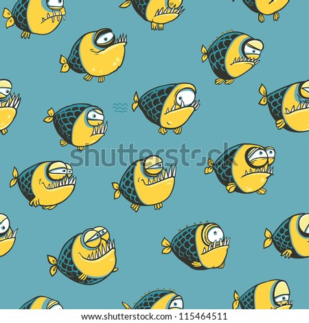 Funny seamless pattern with fish
