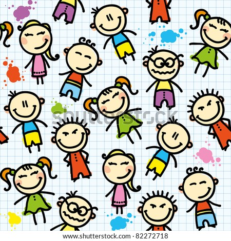 funny seamless pattern with hand drawn kids