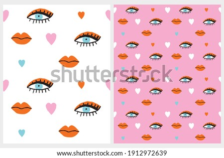 Funny Seamless Vector Patterns with Hand Drawn Eyes, Lips and Hearts Isolated on a White and Light Pink Background. Simple Colorful Print with Woman's Eyes and Lips.