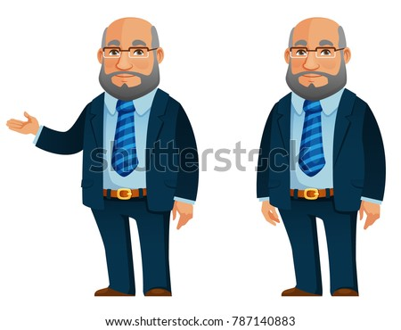 funny senior businessman in blue suit