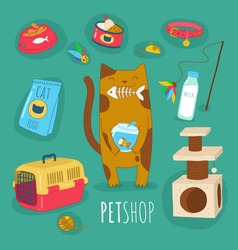 Funny set of cat life icons. Cat food and toys. Vector illustrations. Use for card, poster, banner, web design and print on t-shirt. Easy to edit. Vector illustration.