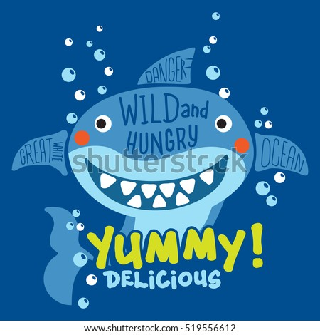 funny shark with typo print