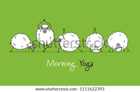 funny sheep doing yoga  sketch