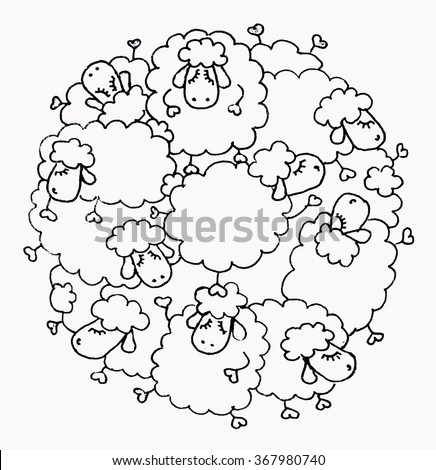 funny sheep in the circle