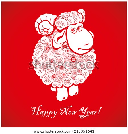 Funny sheep on bright red background and Happy new year 2015. Chinese symbol vector goat 2015 year illustration image design. Greeting card. #210851641