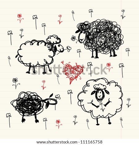 Funny sheep on meadow, sketch for your design