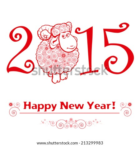 Funny sheep on white  background and Happy new year 2015. Chinese symbol vector goat 2015 year illustration image design. #213299983