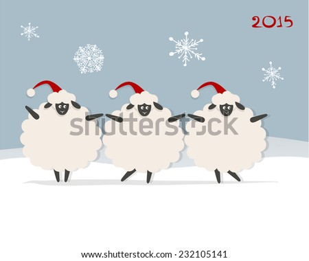 funny sheep santa  symbol of