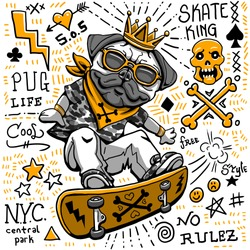 funny skater dog character illustration vector doodles punk style fashion tee print graphic design