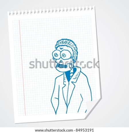 Funny skeleton Doodle Vector