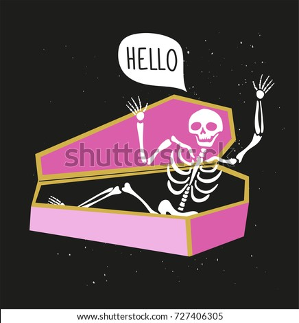 funny skeleton in the coffin