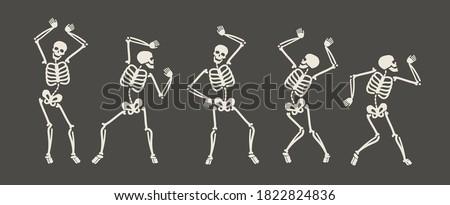 Funny skeletons dancing. Day of Dead, Halloween concept vector illustration Foto stock ©