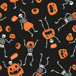 Funny skeletons with pumpkins. Seamless pattern design for Halloween. Cute hand drawn vector fabric design for day of the dead.