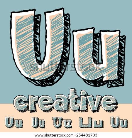 funny sketch alphabet vector