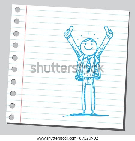 Stock Vector Funny Sketch Of A Businessman Rising His Thumbs Up Sex Advice ...
