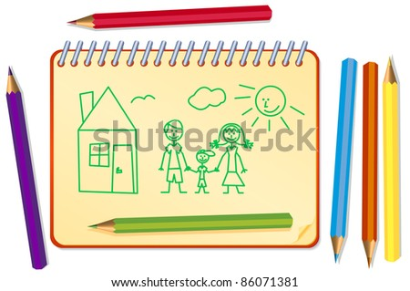 funny sketch of the family with paint pencils and notepad