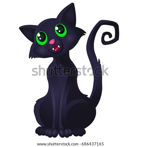 funny sly black cat with green
