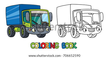 Funny small lorry with eyes. Coloring book