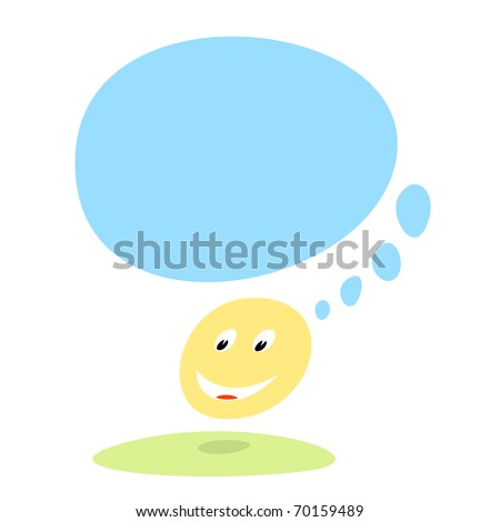 Funny yellow smiley face with speech bubble on white