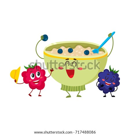 Funny smiling bowl of oatmeal porridge and raspberry, blackberry berry characters, cartoon vector illustration isolated on white background. Cute and funny oatmeal porridge bowl and berry characters