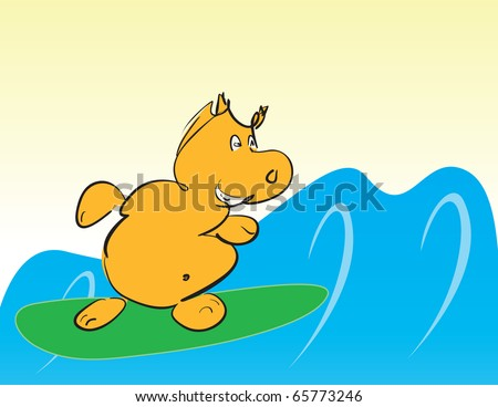 funny smiling cartoon hippo surfing - vector illustration