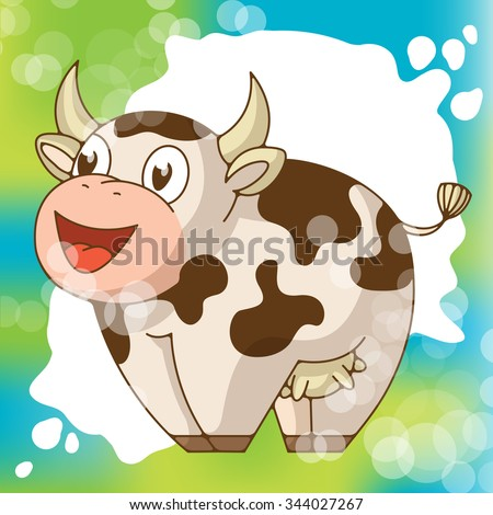 funny smiling cow wits a milk