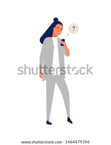 Funny smiling girl in suit sending messages via smartphone. Young happy woman using mobile phone. Online communication, social media addiction, instant messaging. Flat cartoon vector illustration.