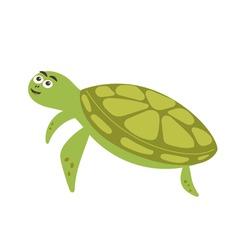 Funny smiling green turtle. Sea and ocean animal creature aqua fauna. Vector flat isolated illustration