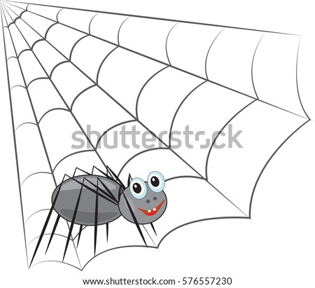 funny smiling spider sits on a