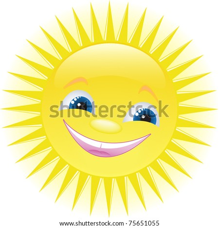 funny smiling sun with blue eyes