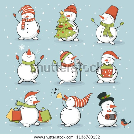 Funny snowman set with winter and holiday accessories. Perfect for  New Year and Christmas greeting card, sticker kit. Vector illustration, hand drawn style
