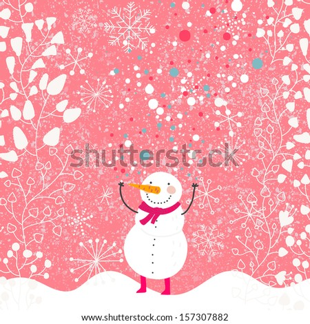 funny snowman with red scarf on ...